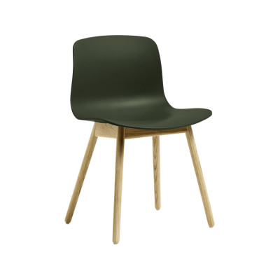 About A Chair AAC12 Green Seat and Clear Lacquered Oak Base