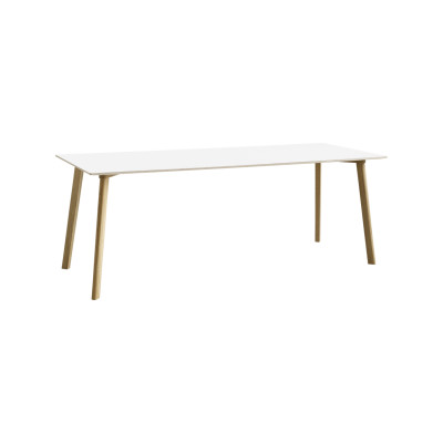 Copenhague Deux (CPH210) Rectangular Dining Table Pearl White Laminate Top, Matt Lacquered Oak Base, 200cm