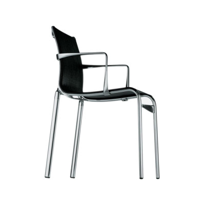 Highframe 40 Stacking Chair with Arm Mesh S - R026, Stove Enamelled Aluminium - A009
