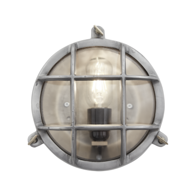Bulkhead Outdoor & Bathroom Round Light - 8 Inch Bulkhead Round Wall Light/Flush Mount - 8 Inch - Gunmetal - Back WiringBulkhead Outdoor & Bathroom Round Light - 8 Inch - Gunmetal - Back Wiring