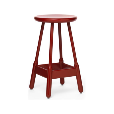 Albert Bar Stool Red Lacquered Beech, 65cm