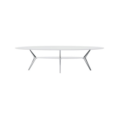 Biplane Small Table, Oval, 4 Legs Stove Enamelled Mdf - V130, Stove Enamelled Aluminium - A009