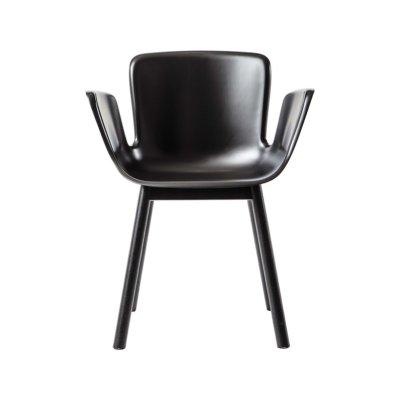 Juli Plastic Armchair with Wooden Legs JBI RAL Pure white 9010, 412 Polished Aluminium, Frassino Ash Wood 113