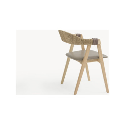 Mathilda Chair with Straw Back Ash Natural, B0028 - Leather Blue Royal - T