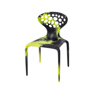 Supernatural Dining Chair with Perforated Back - Ex display Black/Fluo Green