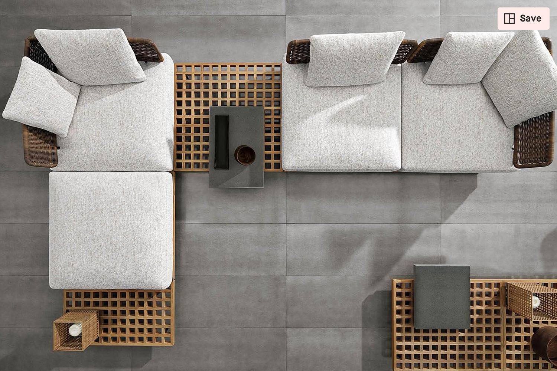 Wooden grids make modular outdoor furniture