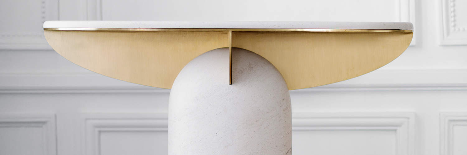 Travertine Console 02 with brass detailing by Frederic Saulou