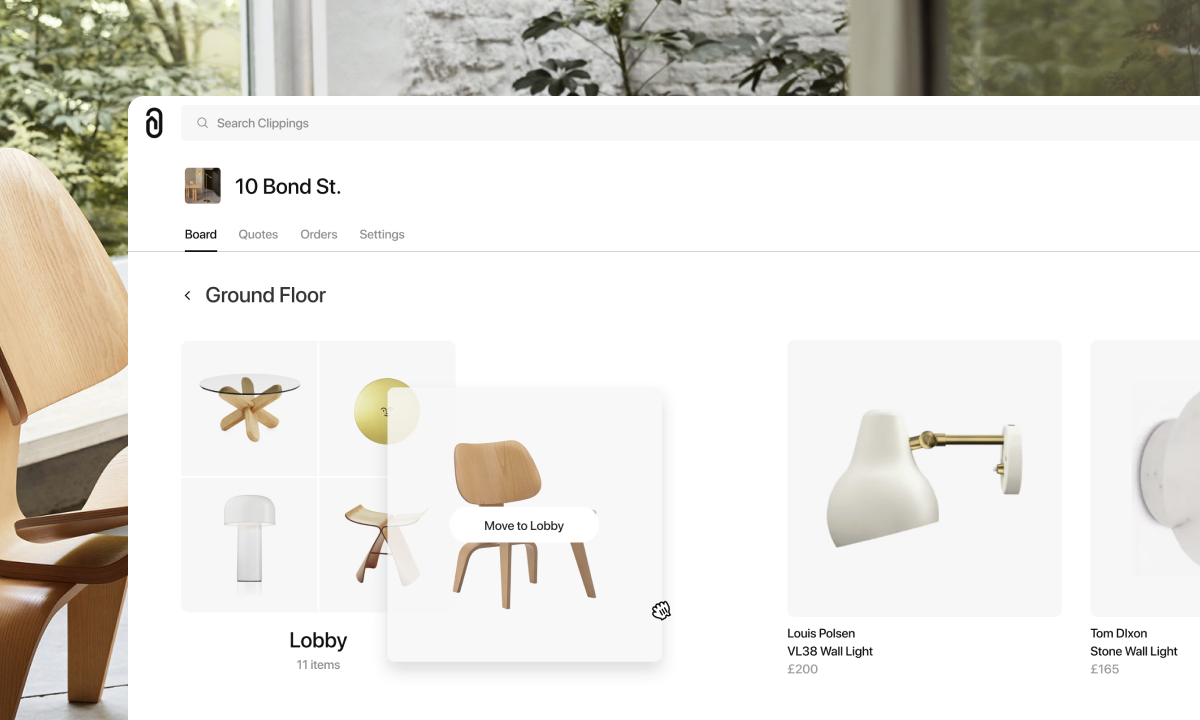 Interior designers can arrange furniture and lighting products on the board when using Clippings.
