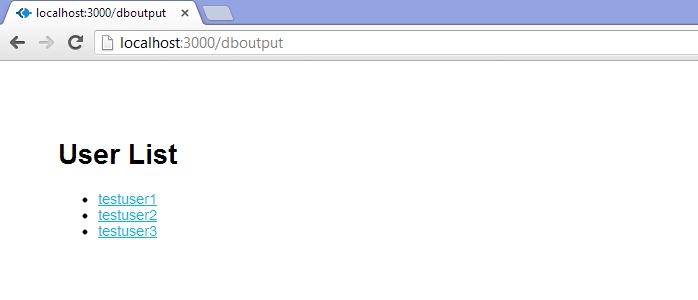 DB Ouput Page - Default Data