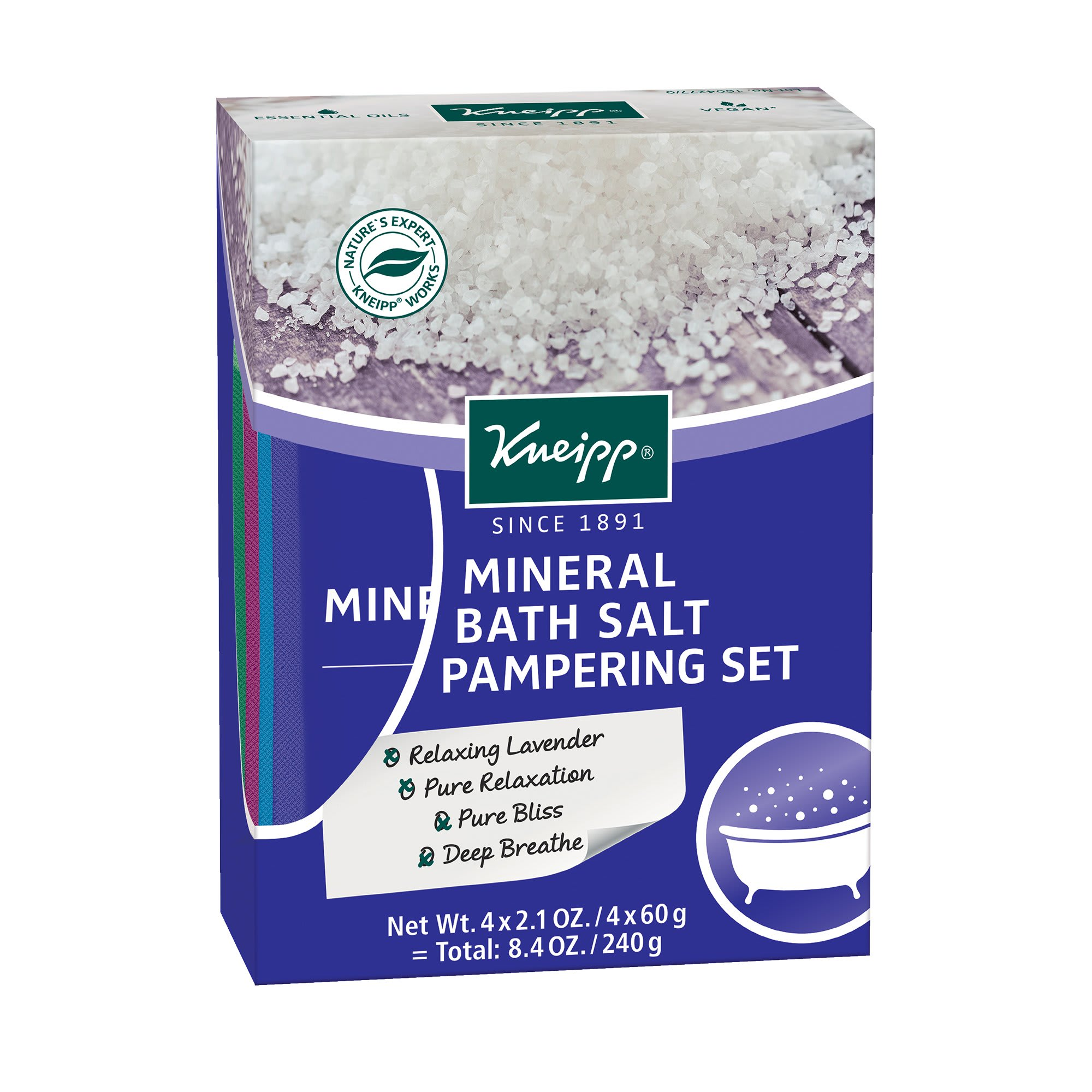 Kneipp Holiday Pampering Mineral Bath Salt 4 Piece Gift Set 2.01 Oz.