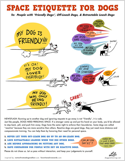 "To: People with ""Friendly Dogs"", Off-Leash Dogs, & Retractable Leash Dogs  Running up to other dog and ignoring requests to go away is not ""friendly"", it is rude. Just like people, DOGS NEED PERSONAL SPACE. If a stranger came up and put his hand on your body, you'd be allowed to step back, yell and push him away. Dogs have the same right to enforce their boundaries. Some dogs are called ""reactive"" because they are more sensitive than others. Reactive dogs are good dogs, they just need more distance and compassionate training. You can help them by honoring their need for personal space."
