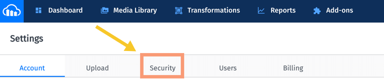 Cloudinary Console Security Tab