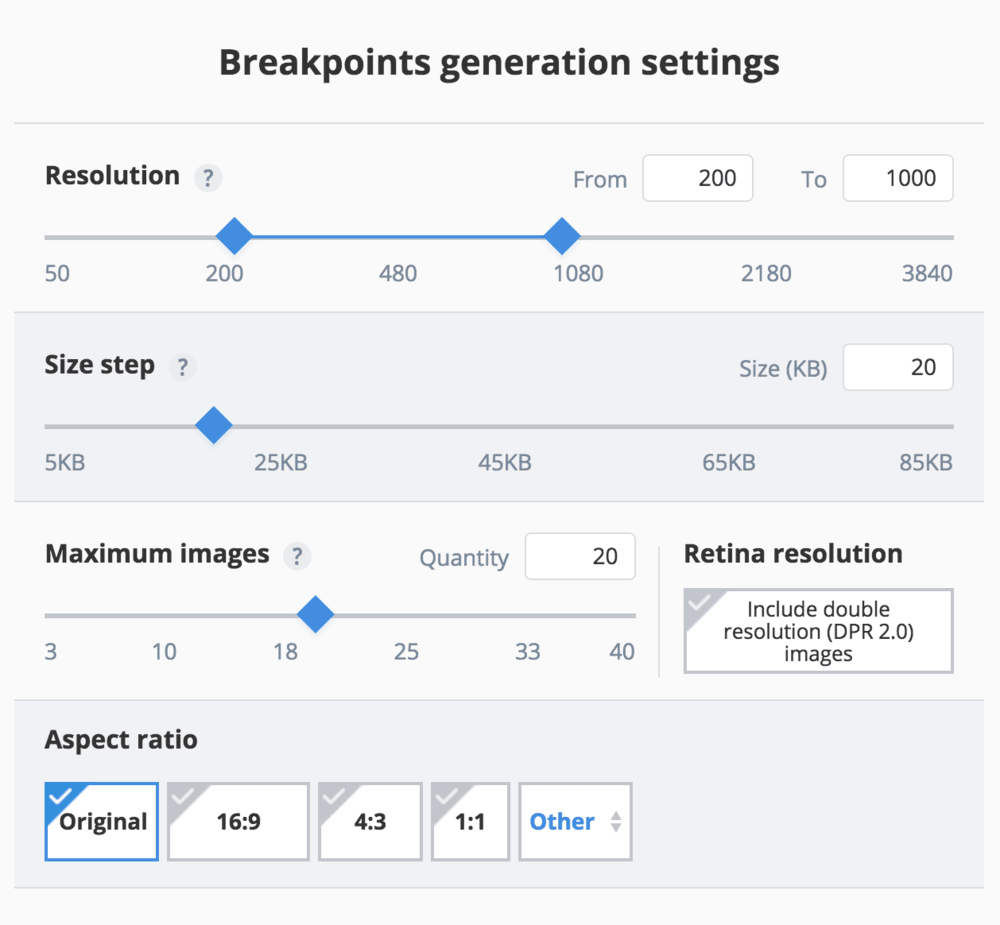 Responsive image breakpoints settings