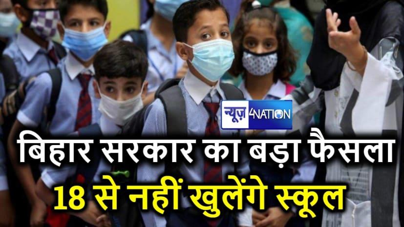 BIG BREAKING :बिहार सरकार का बड़ा फैसला, पहली से आठवीं तक के स्कूल अभी रहेंगे बंद...