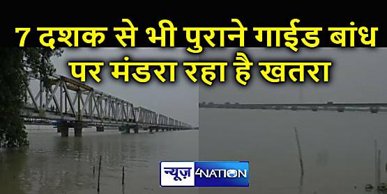 आजादी पूर्व से लोगों की सुरक्षा कर रहा गाईड बांध पर गंगा - कोसी ने बढ़ाया दबाव, टूटने का मंडरा रहा है खतरा, प्रशासन के साथ रेलवे भी कर रहा कड़ी निगरानी