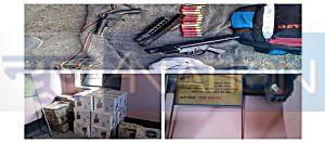 मनरेगा भवन में शराब की फैक्ट्री मिलने से हड़कंप, कई कार्टून विदेशी शराब के साथ हथियार बरामद