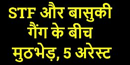 भागलपुर में एसटीएफ और बासुकी ठाकुर गैंग के बीच मुठभेड़, 5 अपराधी असलहों के साथ अरेस्ट