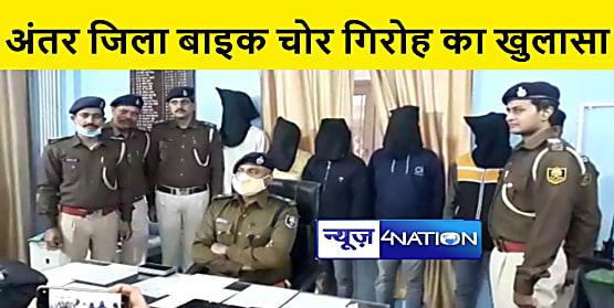 पुलिस ने अंतर जिला बाइक चोर गिरोह का किया पर्दाफाश, पांच अपराधियों को किया गिरफ्तार