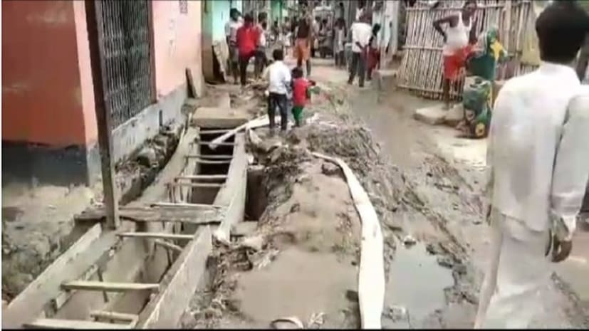 बेगूसराय में लोगों ने किया जमकर हंगामा, नाला निर्माण में धांधली का लगाया आरोप