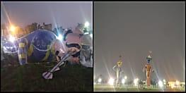 गांधी मैदान में जलने से पहले ही गिर गया रावण का पुतला, कल होना है रावण वध समारोह