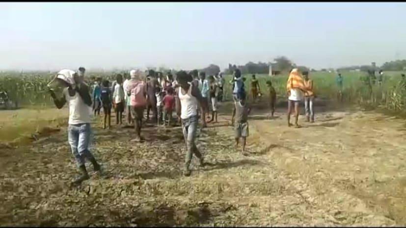 गन्ने के खेत में लगी आग, लाखों की सम्पति को नुकसान
