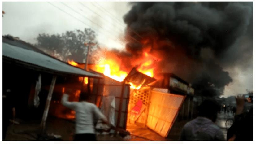 जूट गोदाम में लगी भीषण आग, लाखों का सामान जलकर राख