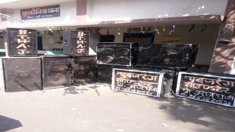 मोतिहारी में पुलिस की कार्रवाई, 6 पूजा स्थल से डीजे जब्त