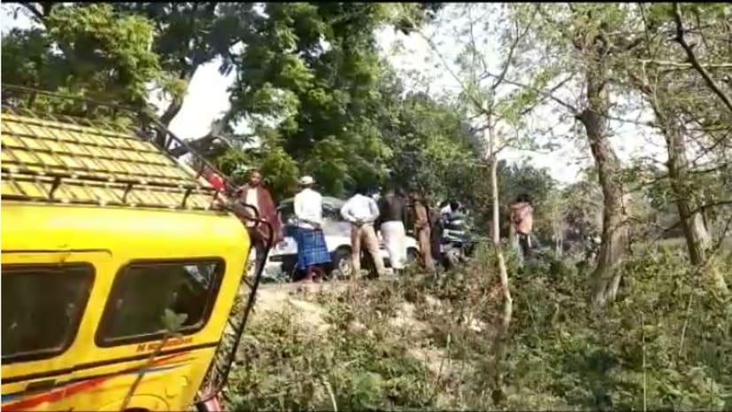 बेगूसराय में गड्ढे में पलटी स्कूली बस, कई बच्चे घायल