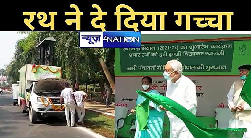 हाथ में हरी झंड़ी लेकर CM नीतीश ने 'हुलक' कर देखा ! फिर भी नहीं पहुंचा कृषि विभाग का सभी प्रचार रथ, हरी झंड़ी दिखाने से पहले ही 2 जिलों के रथ ने दे दिया धोखा