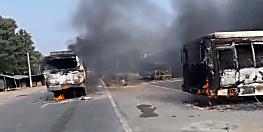 वैशाली में एक्सीटेंड में शख्स की मौत के बाद बवाल, गुस्साए लोगों ने तीन गाड़ियों में लगाई आग