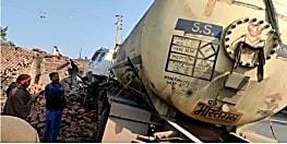 नालंदा में दुकान में घुसी गैस से भरी टैंकलोरी, लाखों के सामान को पंहुचा नुकसान