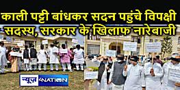 Bihar Politics : आंखों पर काली पट्टी बांध कर विधानसभा के बाहर विपक्ष ने किया प्रदर्शन