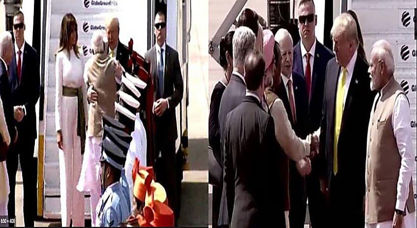 अहमदाबाद पहुंचे अमेरिका के राष्ट्रपति, कुछ इस तरह से मिले पीएम मोदी और ट्रंप