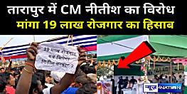 तारापुर में चुनावी सभा के दौरान सीएम नीतीश का भारी विरोध, '19 लाख रोजगार' की याद दिला युवाओं ने किया प्रदर्शन