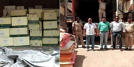 पटना में बरामद हुई 43 लाख की विदेशी शराब, ट्रक का ड्राईवर और खलासी फरार