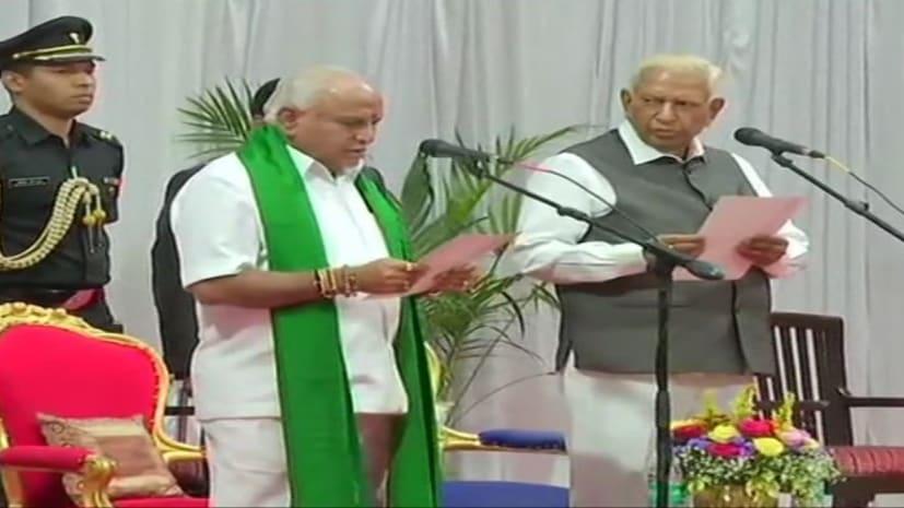 येदियुरप्पा चौथी बार बने कर्नाटक के मुख्यमंत्री, राजभवन में ली शपथ