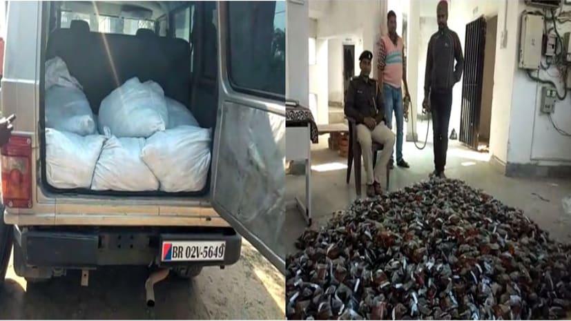 पुलिस का लोगो लगी गाड़ी से भारी मात्रा में देशी शराब बरामद, एक तस्कर गिरफ्तार