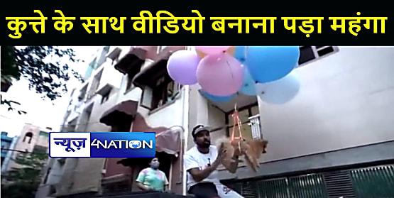 कुत्ते को गुब्बारे के साथ बांधकर हवा में उड़ा रहा था यूट्यूबर, पुलिस ने आरोपी को मां सहित किया गिरफ्तार
