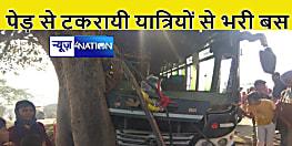 पेड़ से टकरायी अनियंत्रित बस, चालक सहित सात लोग चोटिल