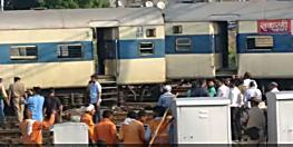 कानपुर सेंट्रल स्टेशन  पर रेल हादसा...बाउंड्री तोड़ बाहर निकली ट्रेन की चार बॉगी