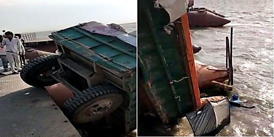 बालू लदा ट्रैक्टर बीच नदी  में पलटा, चालक ने तैरकर बचाई अपनी जान
