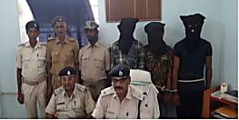 वाहन चेकिंग के दौरान तीन युवक गिरफ्तार, देशी कट्टा और जिन्दा कारतूस बरामद