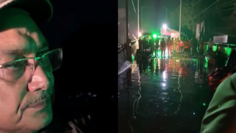 अब डीजीपी साहब ने भी रात के अंधेरे में पानी-पानी हुई राजधानी का SDRF के बोट से लिया जायजा
