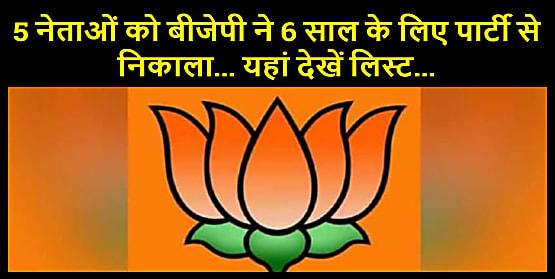 पार्टी विरोधी काम करने वाले 5 नेताओं को बीजेपी ने 6 साल के लिए पार्टी से निकाला... यहां देखें लिस्ट...