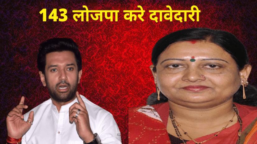 लोजपा के तेवर हुए तल्ख, सांसद वीणा देवी ने कहा- LJP 143 सीटों पर लड़े चुनाव