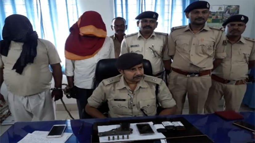 अपराध की योजना बनाते दो कुख्यात गिरफ्तार तीन फरार, 1 पिस्टल, 5 गोली और 1 कार बरामद