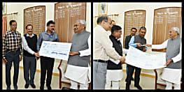 मुख्यमंत्री राहत कोष में मिले 7 करोड़ रूपये, CM नीतीश कुमार ने रिसीव किया चेक