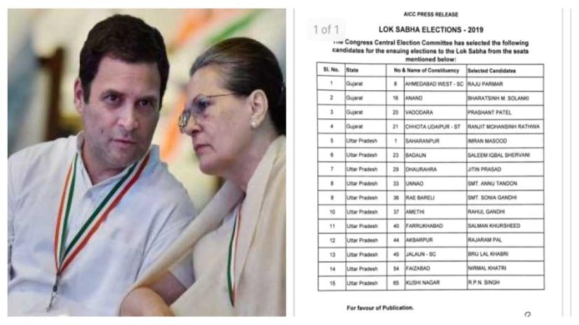 चुनावी बिगुल से पहले ही कांग्रेस ने जारी कर दी उम्मीदवारों की पहली लिस्ट, राहुल अमेठी तो सोनिया रायबरेली से ही लड़ेंगी चुनाव