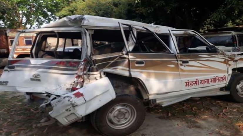 अज्ञात वाहन ने पुलिस की गाड़ी में मारी टक्कर, थानाध्यक्ष सहित पांच पुलिसकर्मी घायल