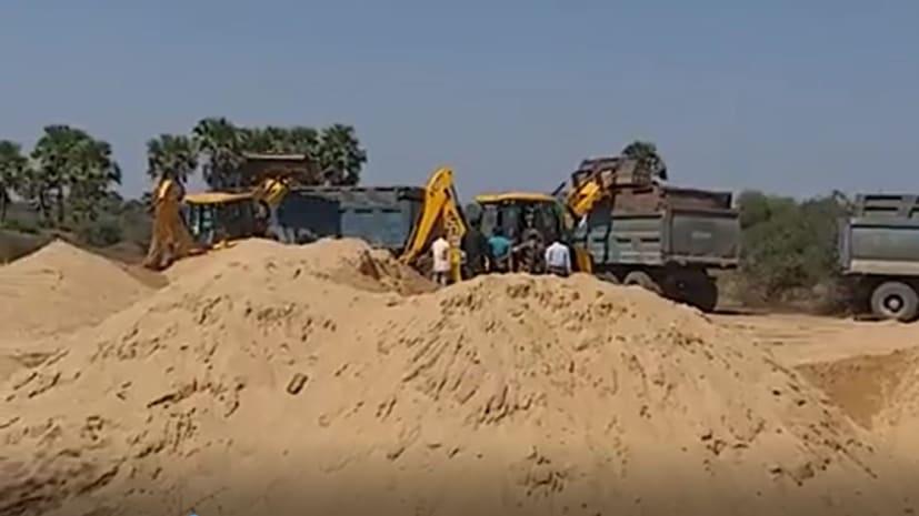 रोहतास में खनन विभाग की बड़ी कार्रवाई, लाखों का अवैध बालू जप्त